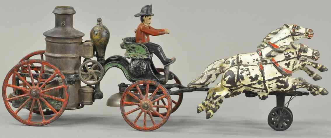 pratt & letchworth spielzeug gusseisen feuerwehrpumpenkutsche zwei pferde