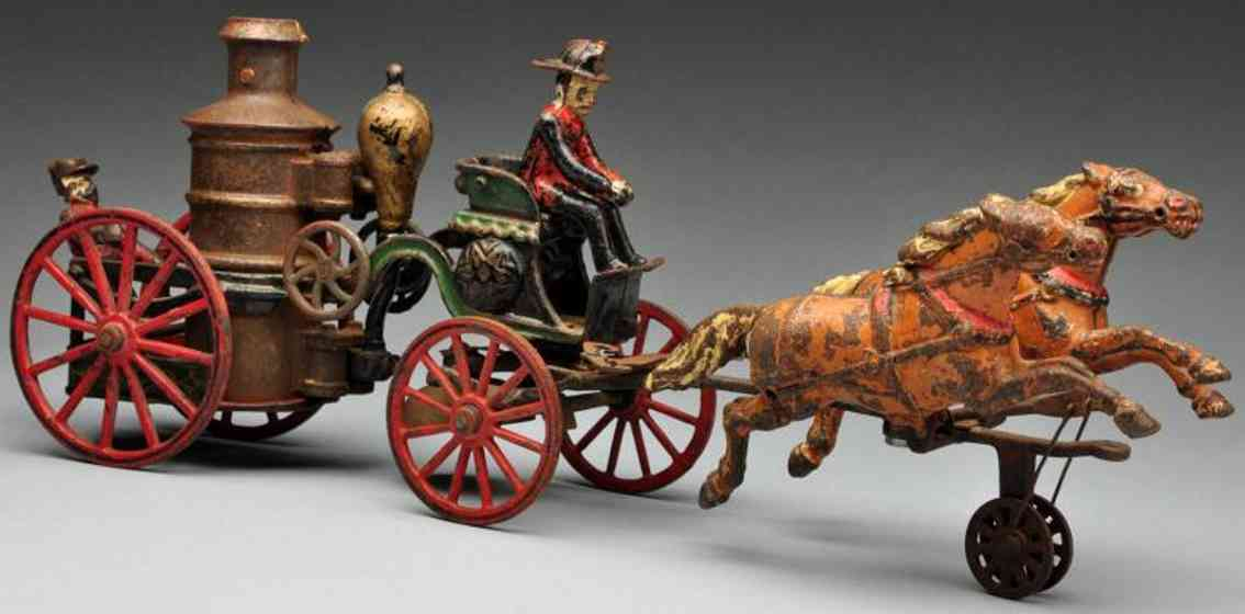 pratt & letchworth cast iron toy fire pumper horse-drawn