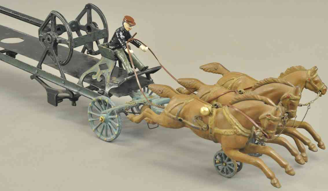 pratt & letchworth spielzeug gusseisen kutsche mit wasserturm drei pferde