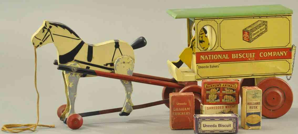 rich toys inc holz spielzeug kutsche uneeda baker lieferwagen pferd