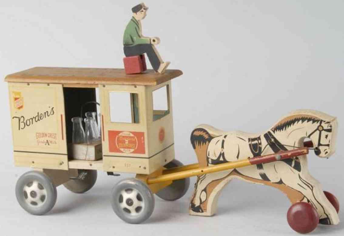 rich toys inc  wooden toy coach borden's horse-drawn milk wagon