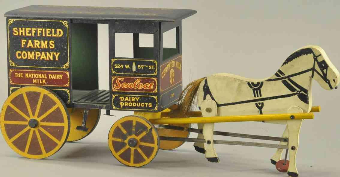 rich toys inc holz spielzeug kutsche sheffield farm milchwagen pferd