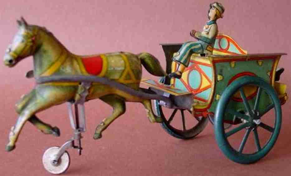 rico blech spielzeug kutsche mit pferd und uhrwerk