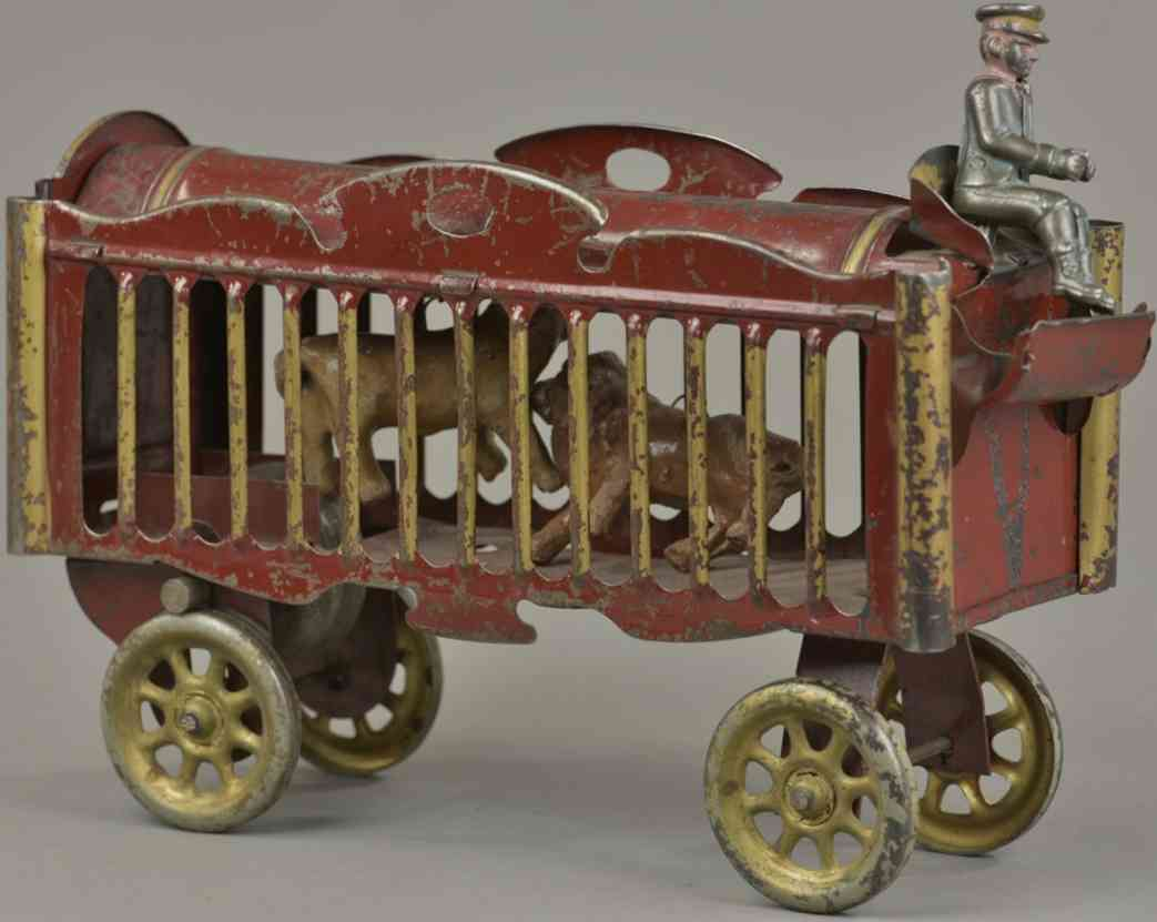 schieble pressed steel toy circus wagon red driver