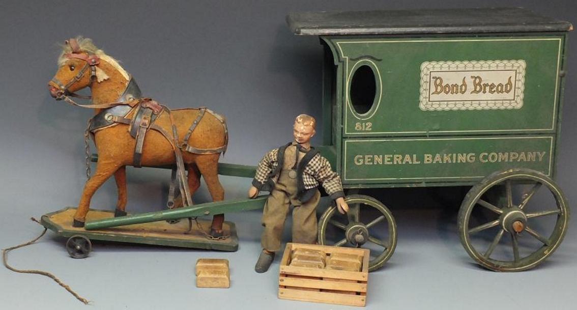 schoenhut 812 wooden toy horse drawn wagon 2 figure
