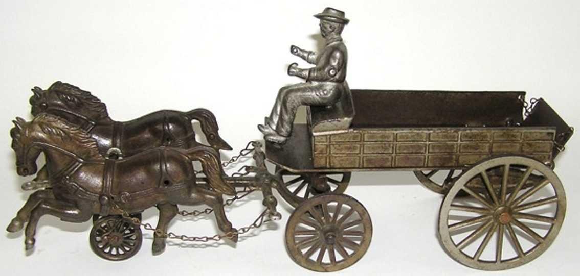 Shimer Toy Co. 262 Bauernkarre aus vernickeltem Gußeisen mit zwei Pferden und Fahrer
