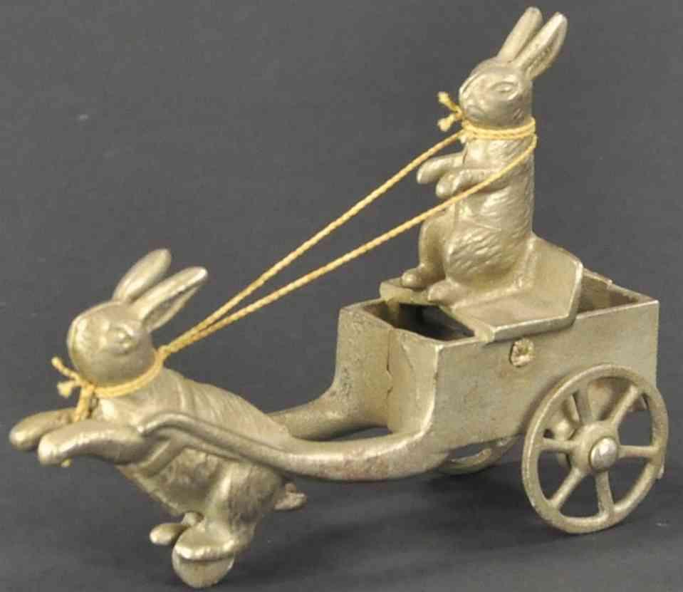 shimer toy co spielzeug gusseisen kaninchen zieht kaninchenkutsche
