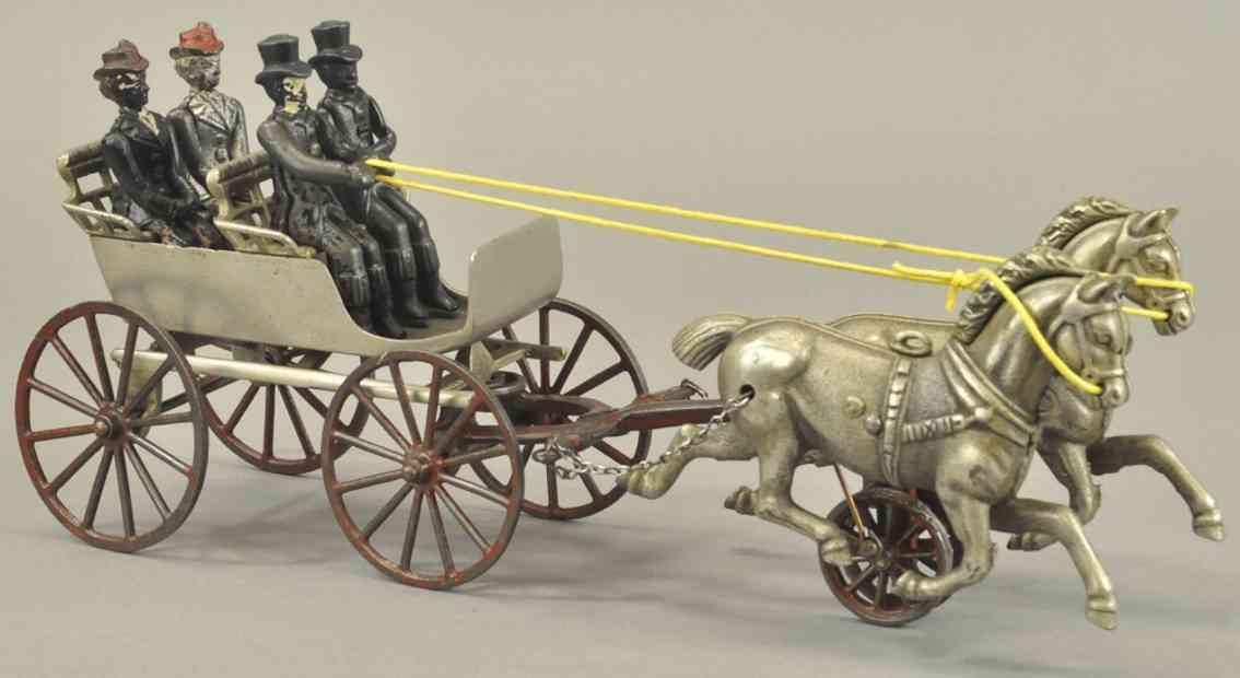 shimer toy co spielzeug gusseisen kutsche mit zwei pferden vier figuren