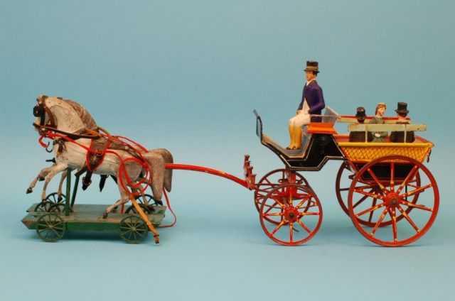 staudt leonhard 664/1 tin toy coach with 2 horses on platform