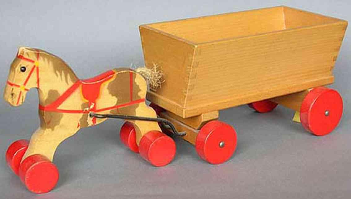 steiff wooden toy horse and cart kastenwagen 4813,10