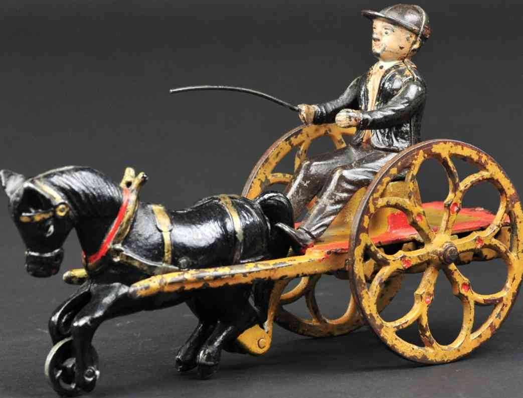stevens co j & e spielzeug gusseisen junge in karre peitsche ein pferd