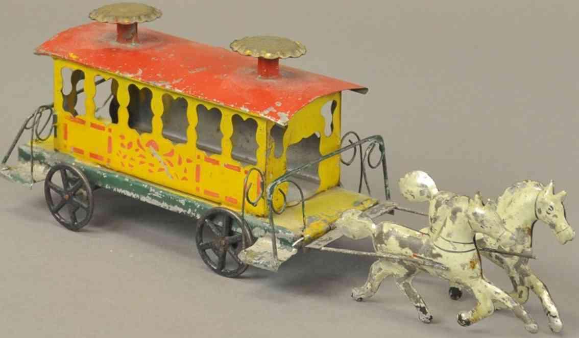stevens & brown City trolley 11 blech spielzeug kutsche strassenbahn gezogen von zwei weißen pferden, gehäuse in gel