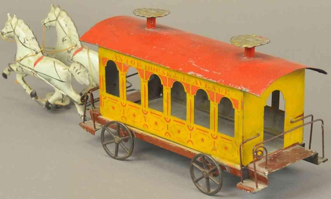 stevens & brown blech spielzeug kutsche strassenbahn zwei pferde