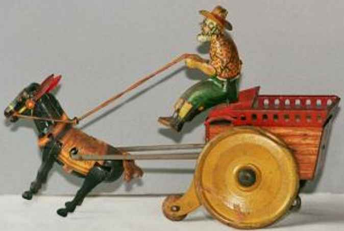 strauss ferdinand jenny balking mule tin toy coach tin mule pulls cart with driver