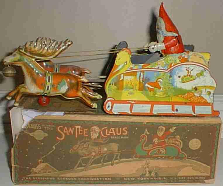 strauss 99 tin wind-up toy coach santee claus in sleigh