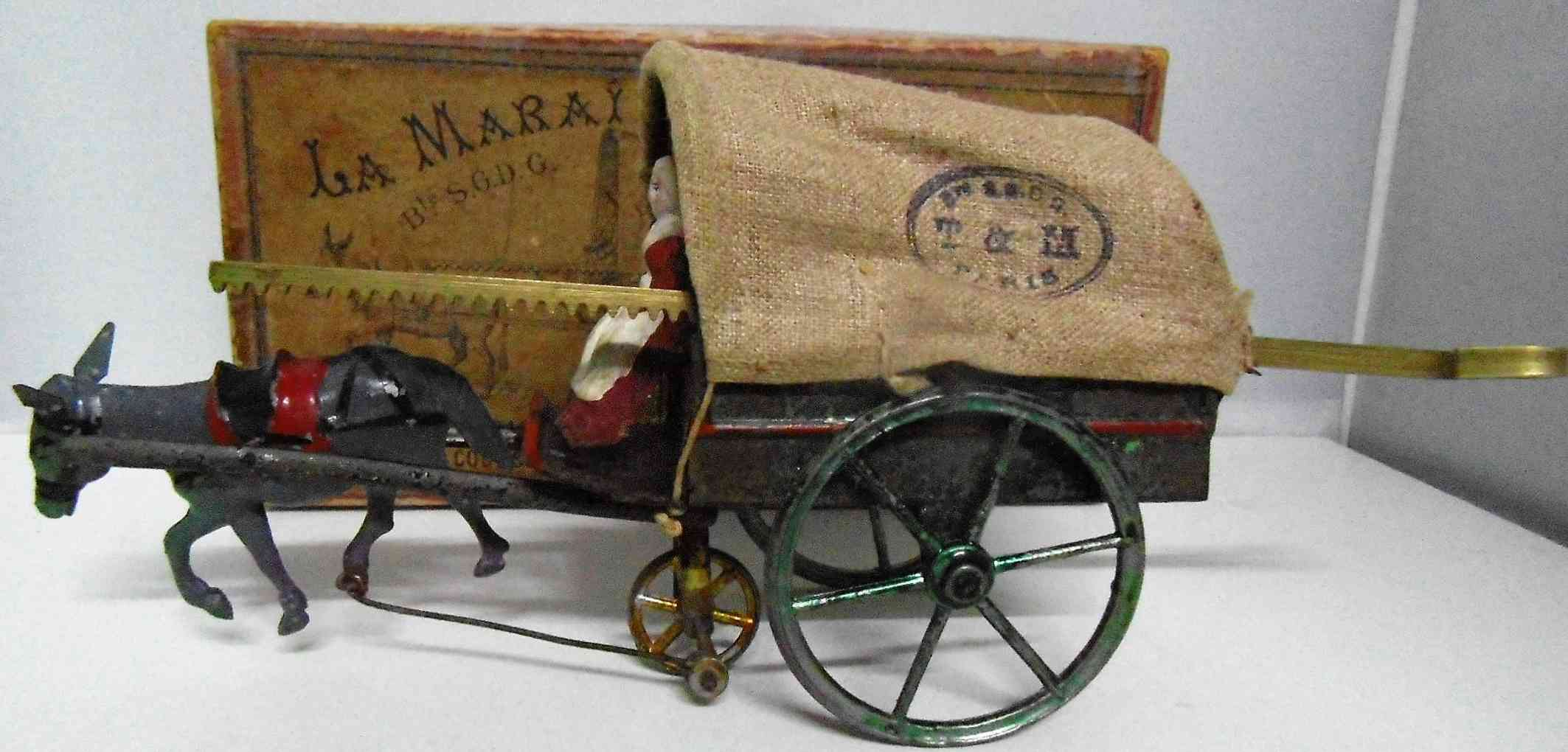 tantet et manon tin toy coach carriage with donkey with flywheel drive