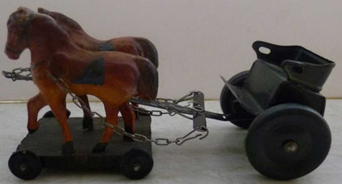 tippco tin toy coach horse team to the pull a  cannos or field kitchen