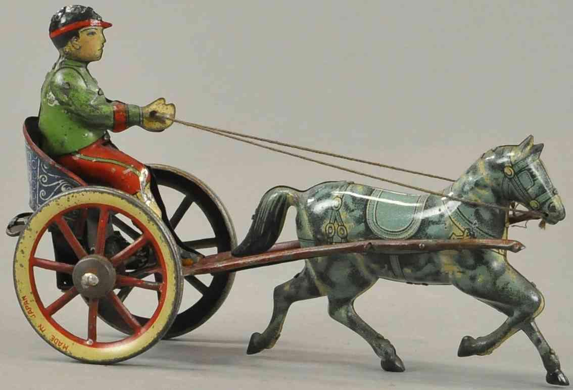 blech spielzeug ein pferd mit karre junge als kutscher japan
