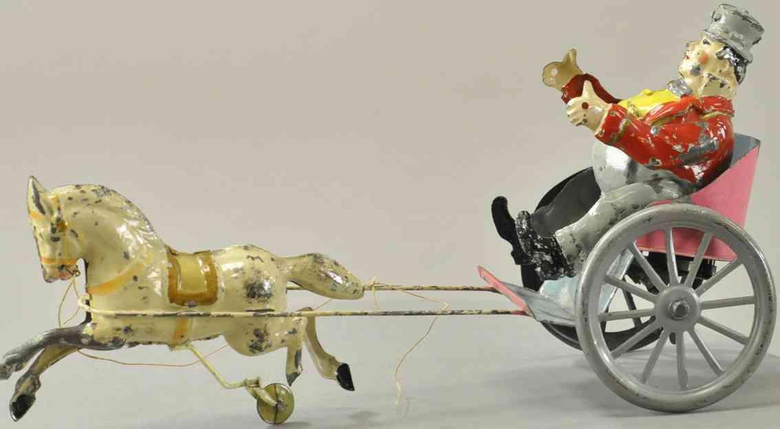 blech spielzeug kutsche korpulenter mann in pferdewagen uhrwerk streitwagen