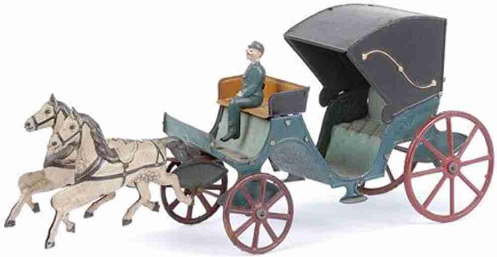 Kutsche mit zwei weißen Pferden blauer Wagen
