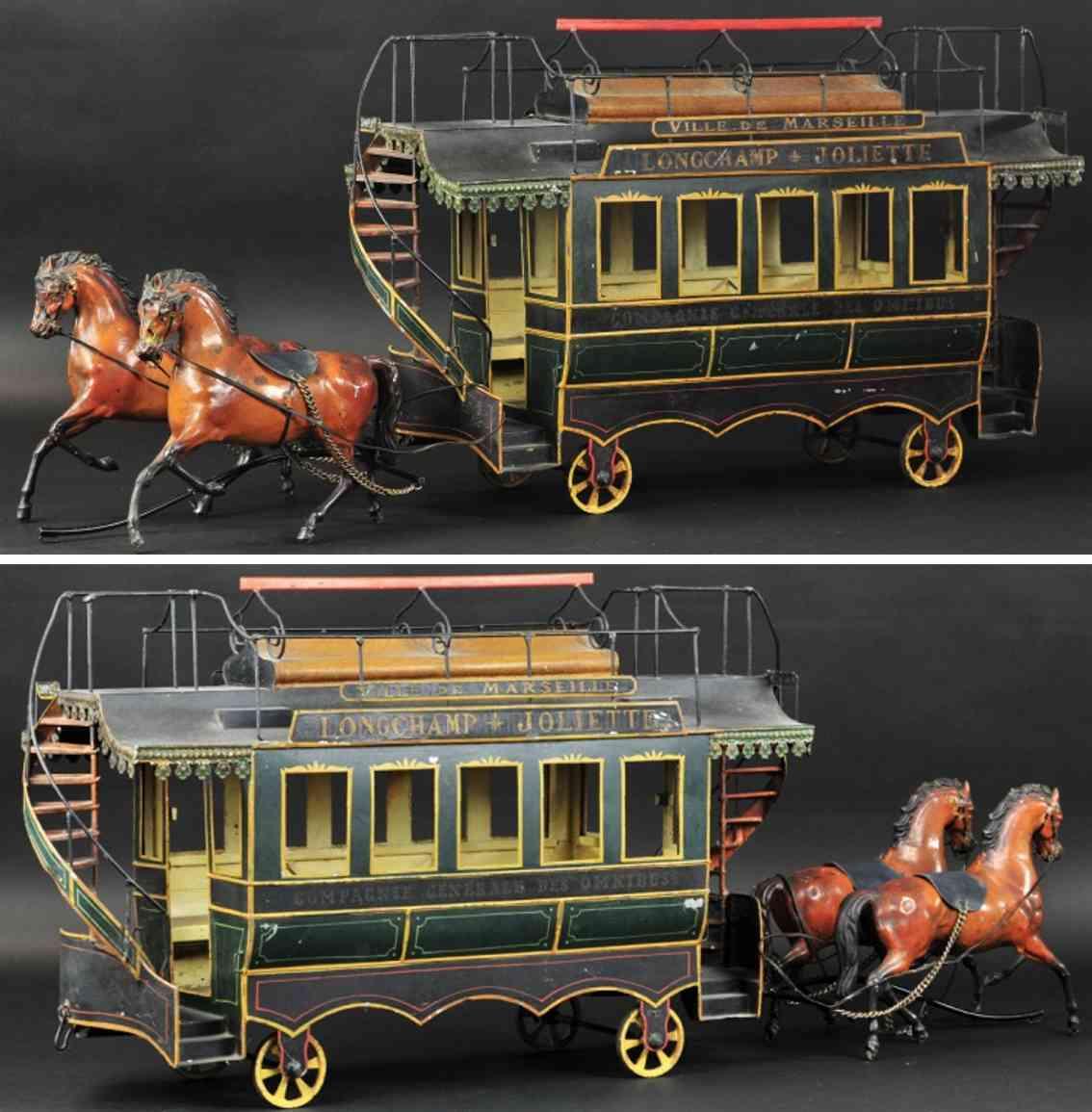 blech spielzeug doppeldeckerbuskutsche zwei braune pferde
