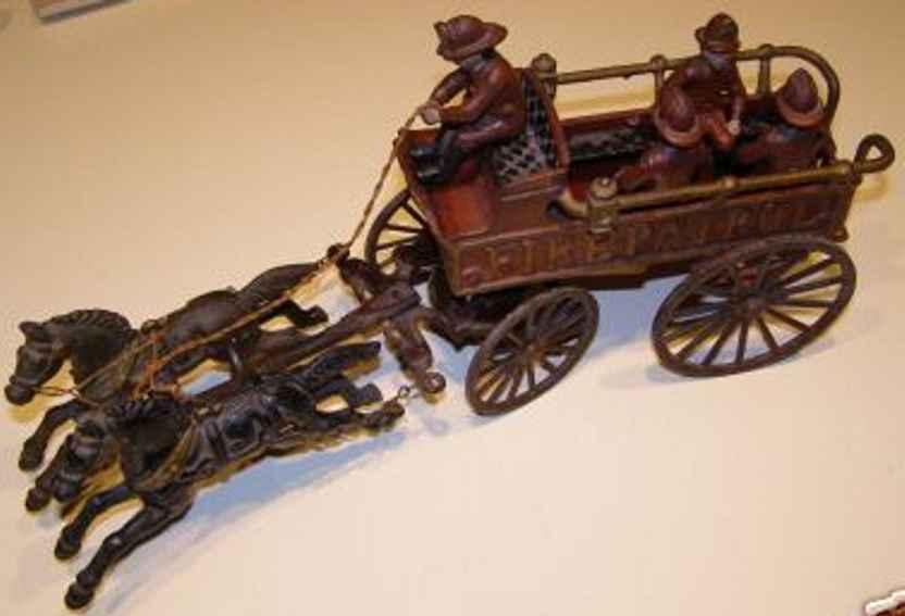 cast iron toy coach fire patrol horses drawn wagon
