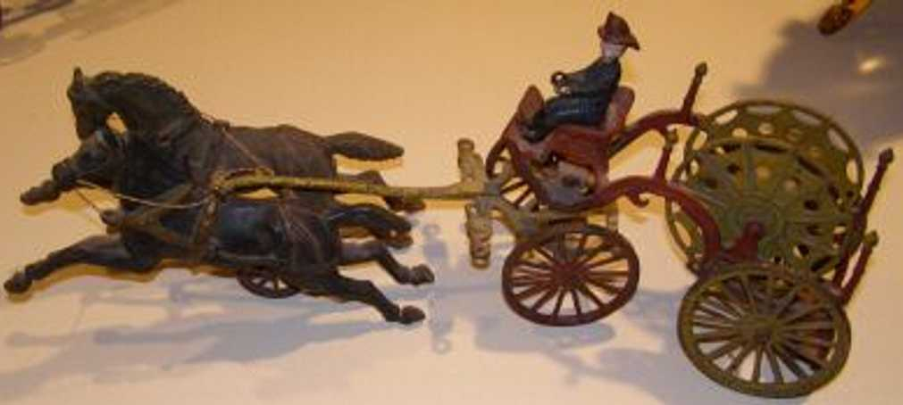 cast iron toy fire horse reel wagon ives hubley