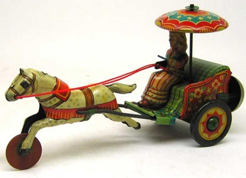 blech spielzeug maedchen in kutsche mit pferd und glocke japan