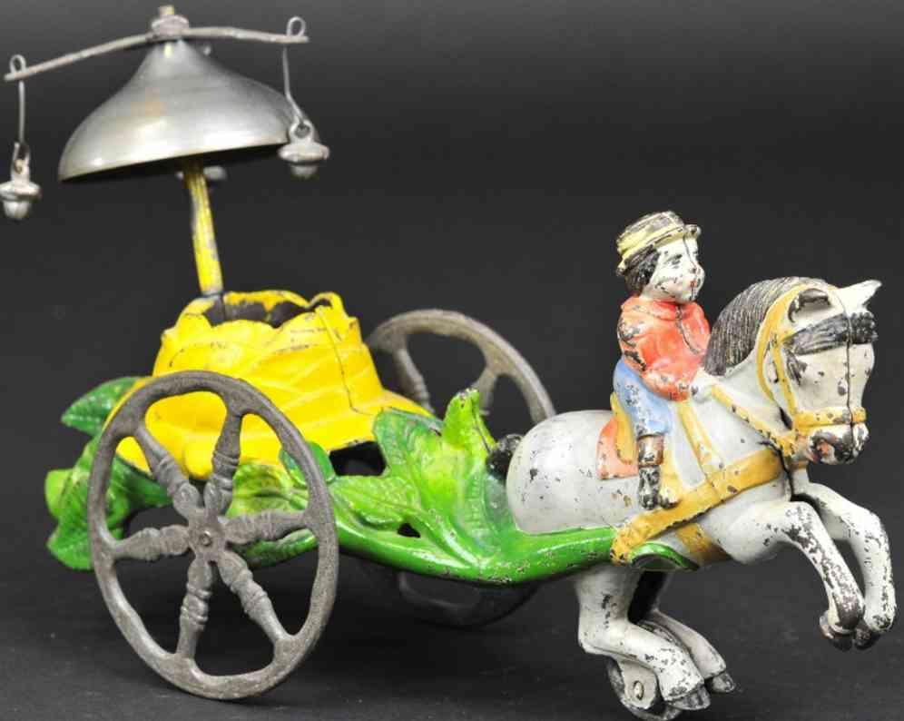 gusseisen saratoga pferd mit reiter als glockenspielzeug