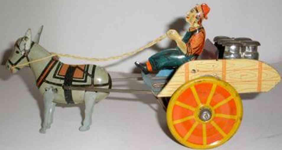 Unique Art Manufacturing Company Kutsche mit Fahrer Maulesel und Uhrwerk