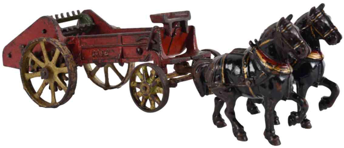 vindex spielzeug gusseisen duengerstreuer zwei pferde case