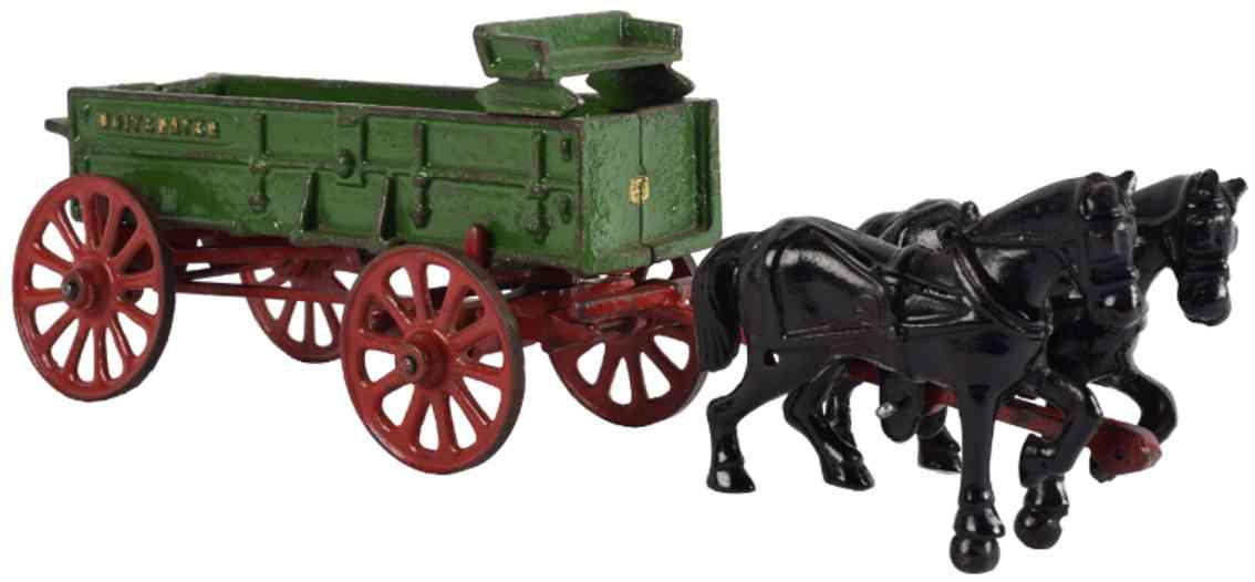vindex whitwater cast iron toy horse drawn farm wagon