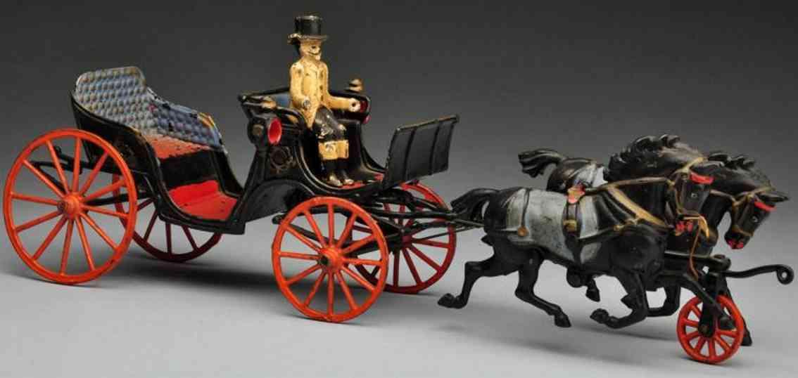 welker & crosby spielzeug gusseisen kutsche mit zwei pferde kutscher