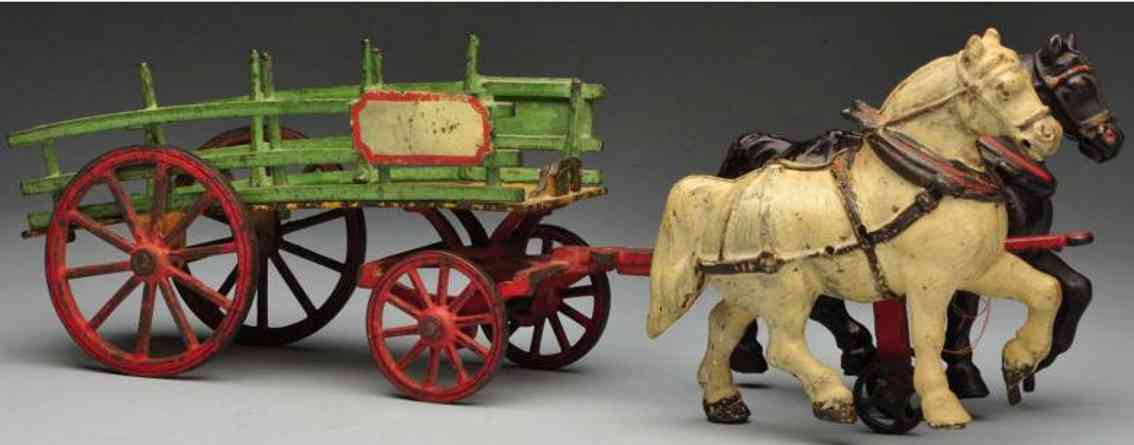 welker & crosby cast iron toy dray wagon two horse-drawn