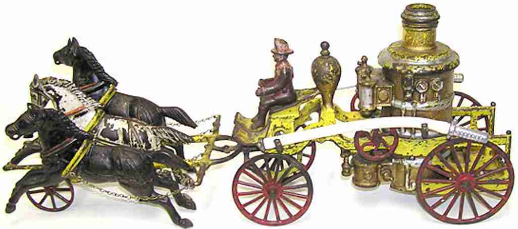 wilkens cast iron toy fire pumper three horses