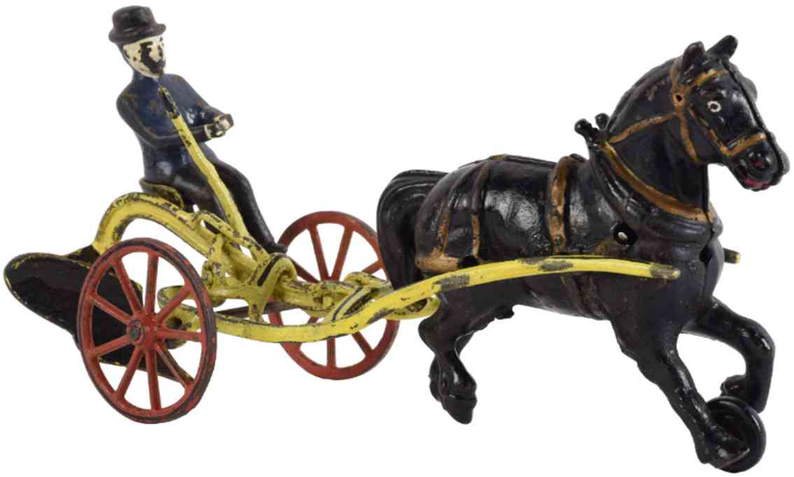 wilkens cast iron toy horse drawn farm plow with figure