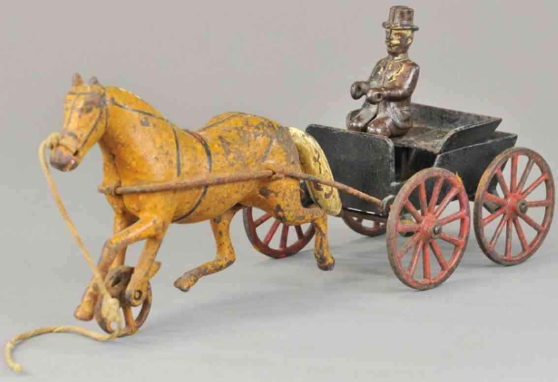 wilkens cast iron toy doctors cart one horse