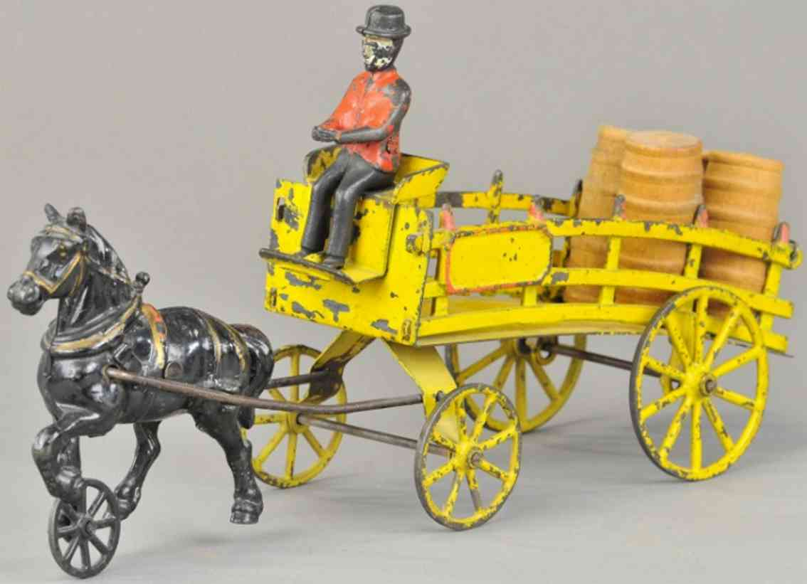 wilkens cast iron toy day wagon yellow one black horse