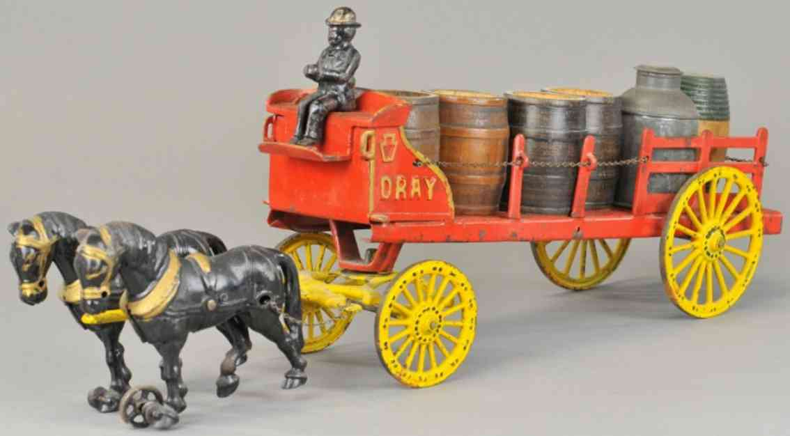 wilkens cast iron toy dray wagon
