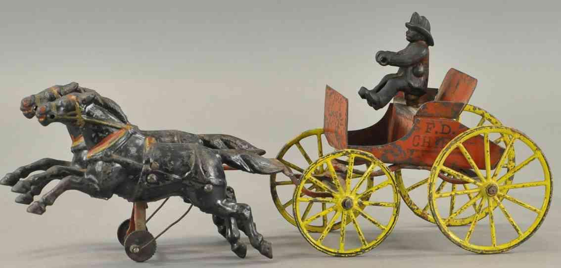 wilkens spielzeug gusseisen kutsche des feuerwehrchefs zwei pferde