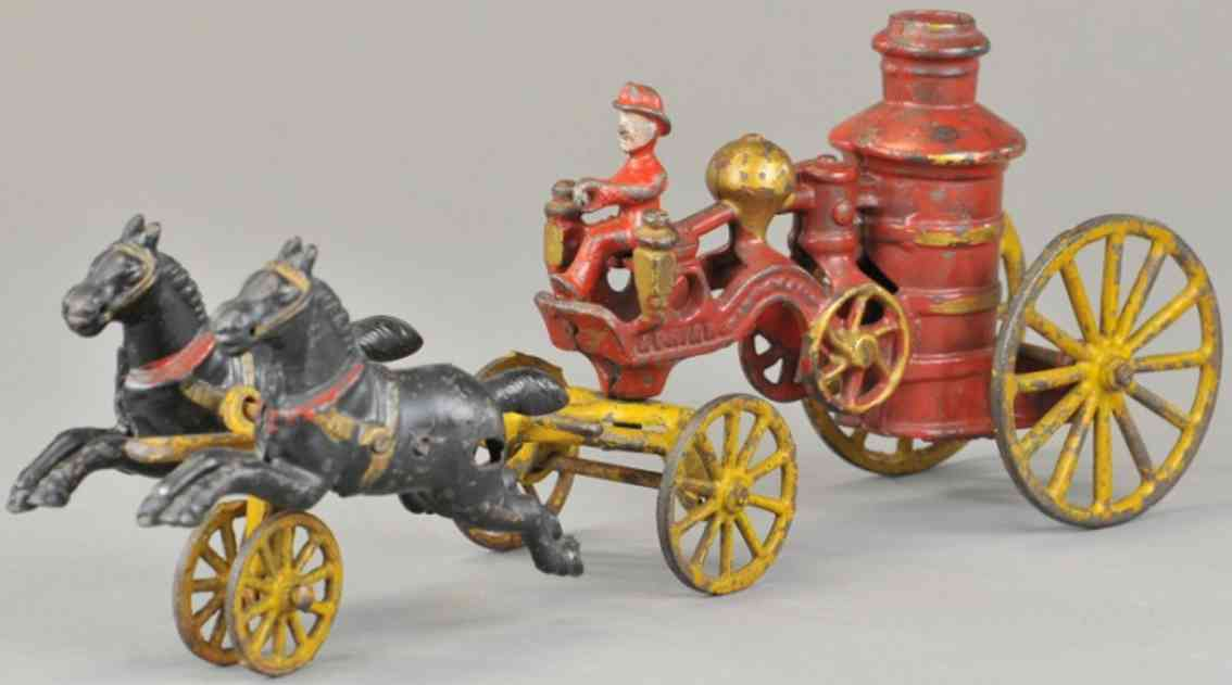 wilkens cast iron toy horse drawn fire pumper two horses adrian