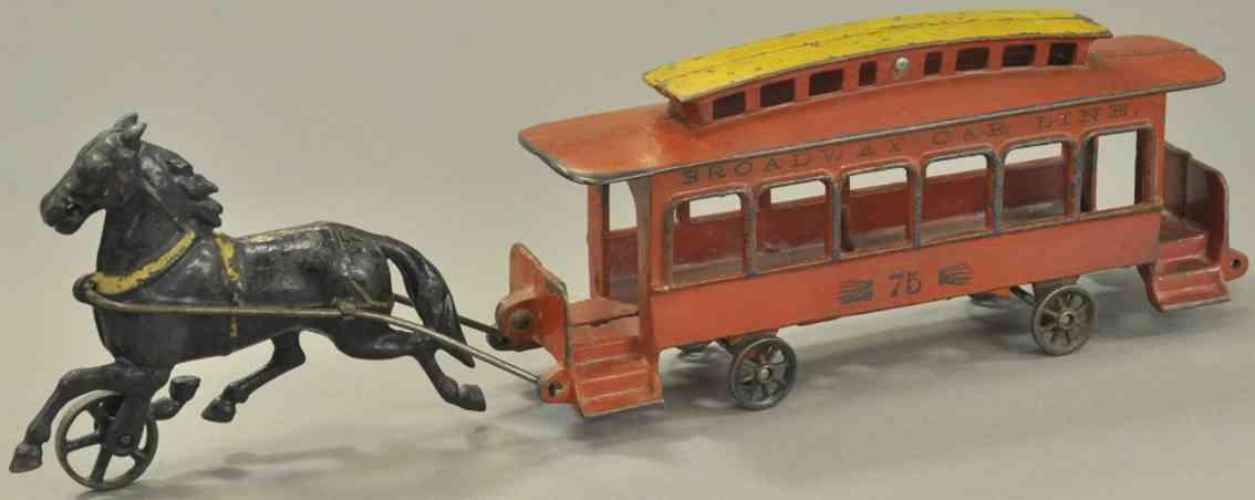wilkens 75 spielzeug gusseisen strassenbahn rot gelb schwarzes pferd