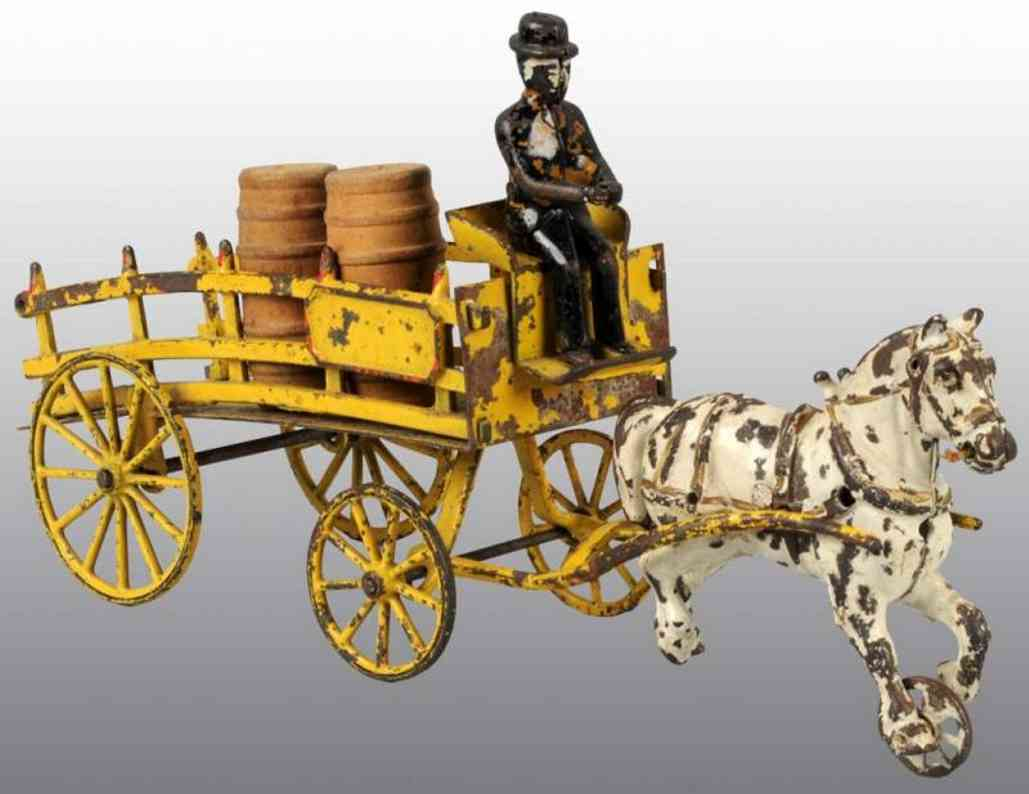 Wilkins Horse drawn dray wagon with figure and two barrels