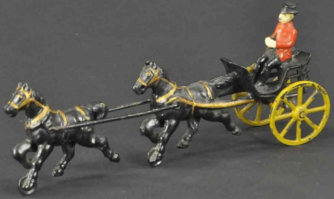 wilkins spielzeug gusseisen kutsche  zwei pferde hintereinnder