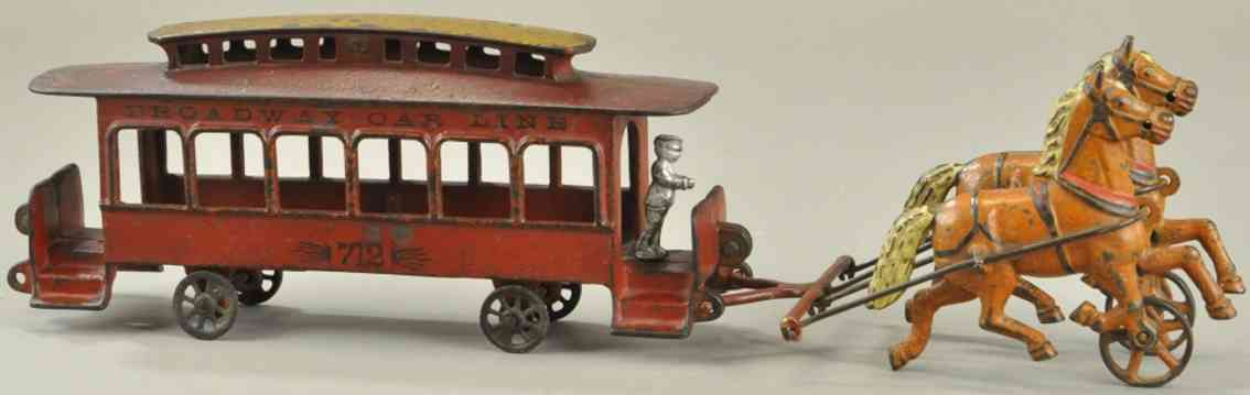 wilkins 712 spielzeug gusseisen broadway strassenbahn rot zwei pferde