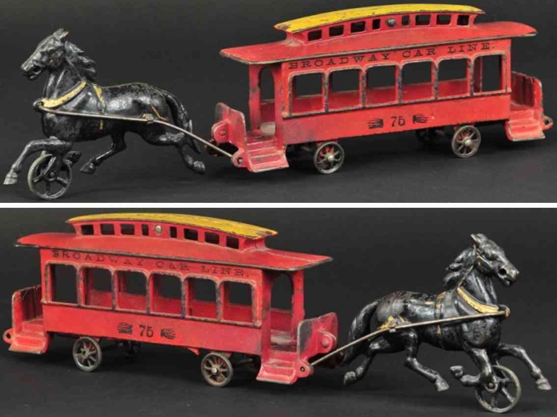 wilkins 75 spielzeug gusseisen broadway strassenbahn rot ein pferd