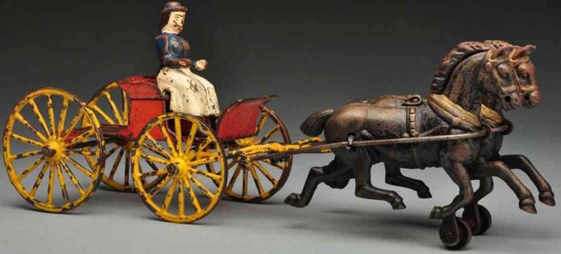 Wilkins Cast iron buckboard horse-drawn toy