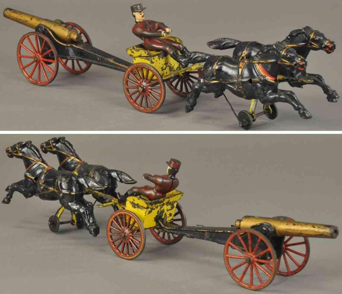 wilkins spielzeug gusseisen munitionkutsche zwei pferde feldkanone