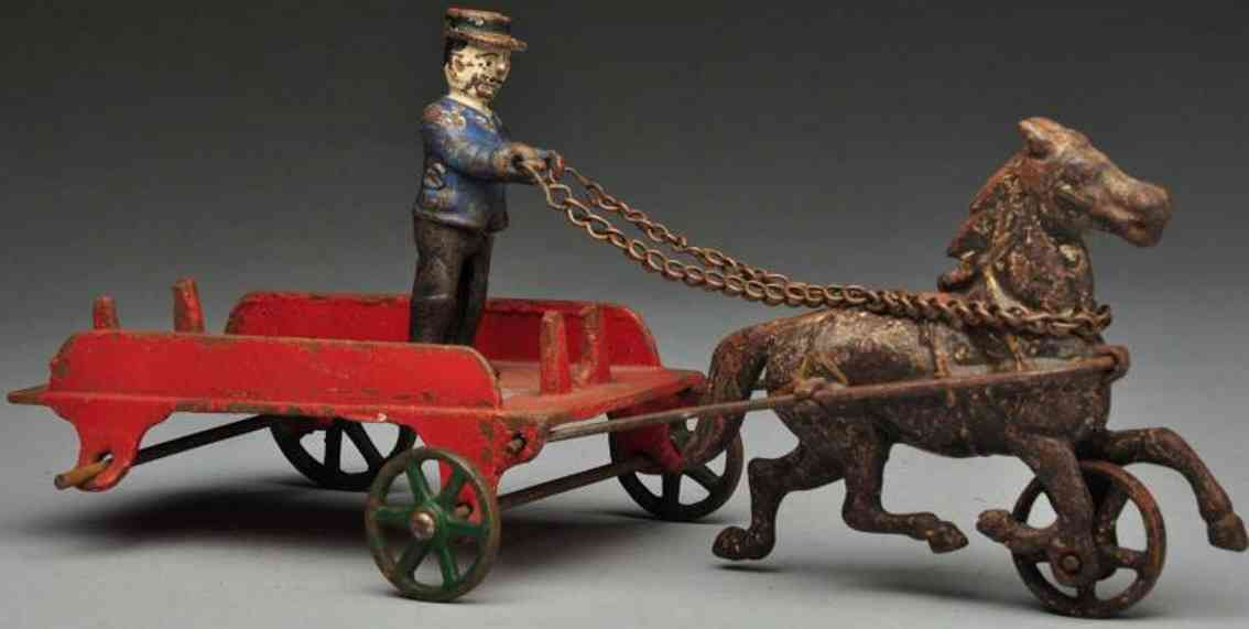Wilkins Cast iron depot wagon horse-drawn toy