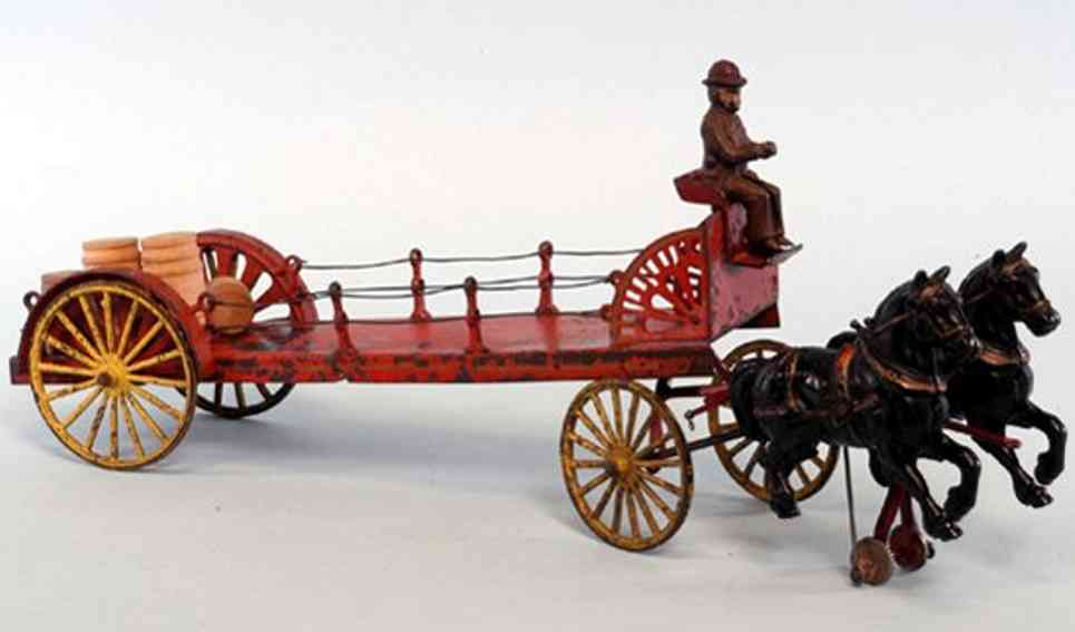 wilkins two horses cast iron toy dray wagon